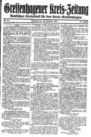 Greifenhagener Kreiszeitung vom 25.02.1917