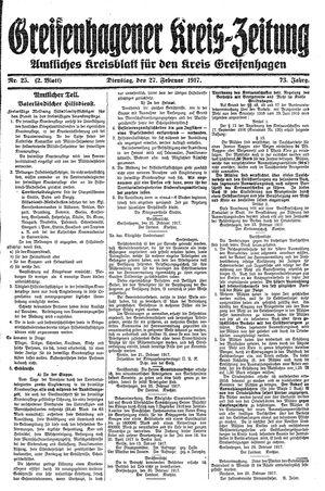 Greifenhagener Kreiszeitung vom 27.02.1917