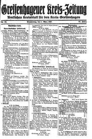 Greifenhagener Kreiszeitung vom 01.03.1917