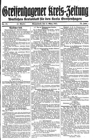 Greifenhagener Kreiszeitung vom 03.03.1917