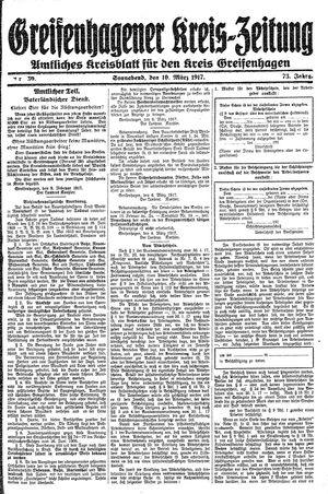 Greifenhagener Kreiszeitung vom 10.03.1917