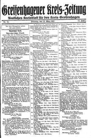 Greifenhagener Kreiszeitung vom 13.03.1917