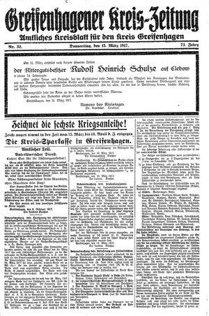 Greifenhagener Kreiszeitung vom 15.03.1917