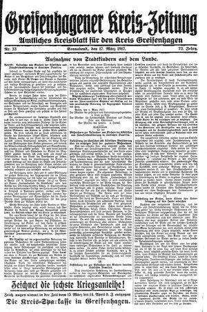 Greifenhagener Kreiszeitung vom 17.03.1917