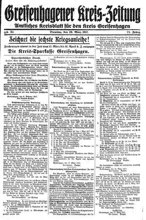Greifenhagener Kreiszeitung vom 20.03.1917