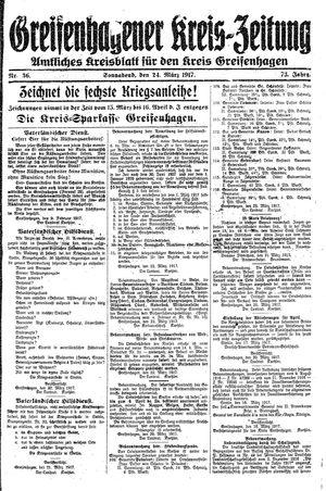 Greifenhagener Kreiszeitung vom 24.03.1917