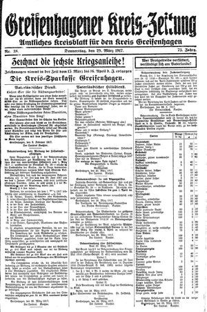 Greifenhagener Kreiszeitung vom 29.03.1917
