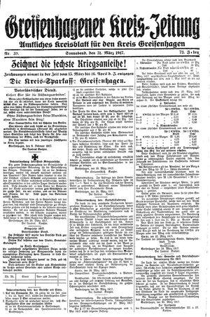 Greifenhagener Kreiszeitung vom 31.03.1917