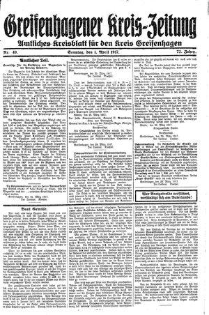 Greifenhagener Kreiszeitung vom 01.04.1917
