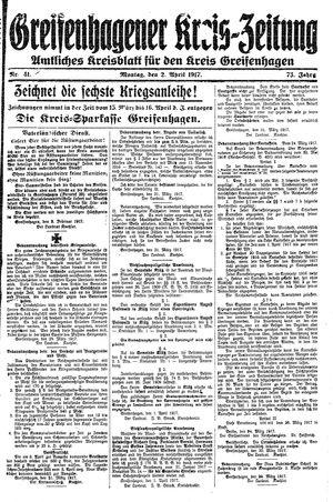 Greifenhagener Kreiszeitung vom 02.04.1917