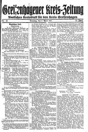 Greifenhagener Kreiszeitung vom 03.04.1917