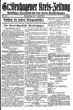 Greifenhagener Kreiszeitung on Apr 5, 1917