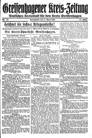 Greifenhagener Kreiszeitung vom 07.04.1917