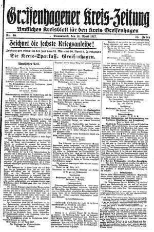 Greifenhagener Kreiszeitung vom 14.04.1917