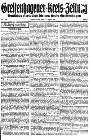 Greifenhagener Kreiszeitung vom 19.04.1917