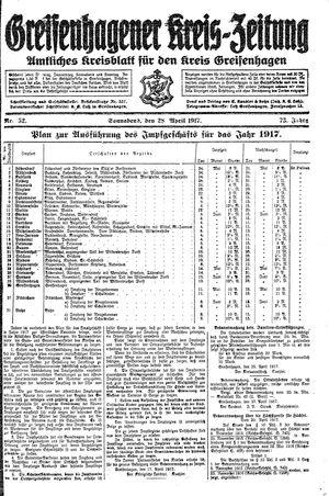 Greifenhagener Kreiszeitung vom 28.04.1917