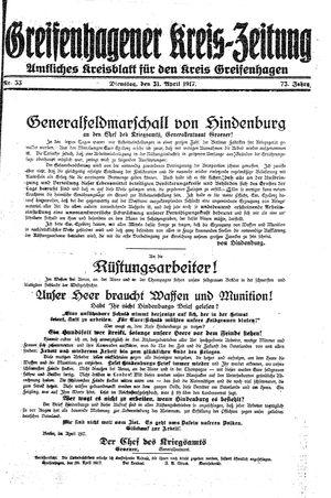 Greifenhagener Kreiszeitung vom 01.05.1917
