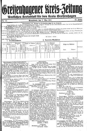 Greifenhagener Kreiszeitung vom 05.05.1917