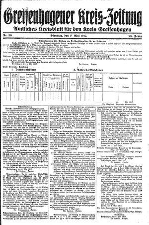 Greifenhagener Kreiszeitung vom 08.05.1917