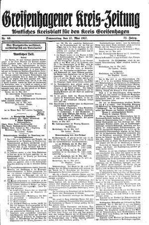 Greifenhagener Kreiszeitung vom 17.05.1917