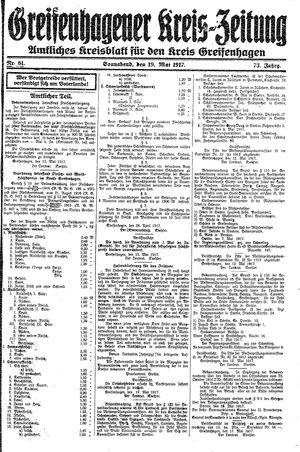 Greifenhagener Kreiszeitung vom 19.05.1917