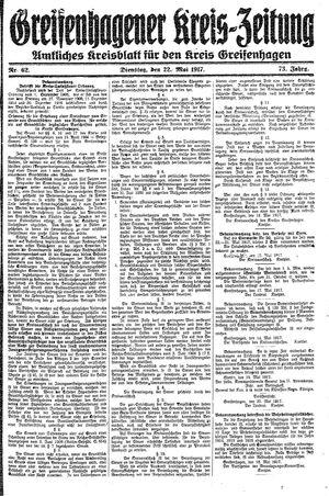 Greifenhagener Kreiszeitung vom 22.05.1917