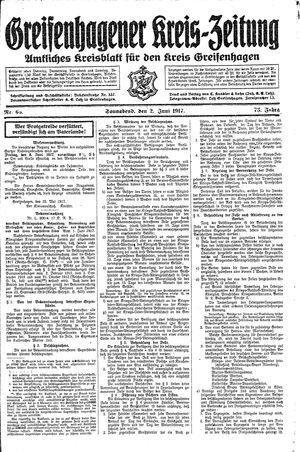 Greifenhagener Kreiszeitung on Jun 2, 1917