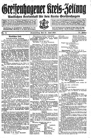 Greifenhagener Kreiszeitung vom 14.06.1917