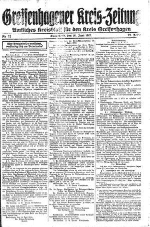 Greifenhagener Kreiszeitung vom 16.06.1917