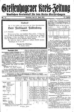 Greifenhagener Kreiszeitung vom 19.06.1917