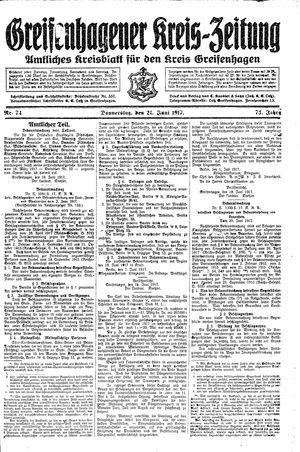 Greifenhagener Kreiszeitung vom 21.06.1917