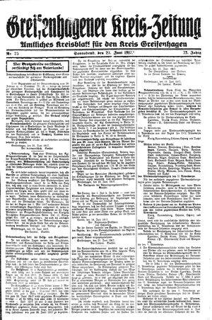 Greifenhagener Kreiszeitung vom 23.06.1917