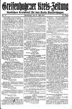 Greifenhagener Kreiszeitung vom 30.06.1917