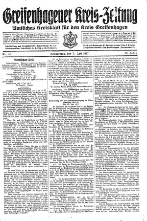 Greifenhagener Kreiszeitung on Jul 5, 1917