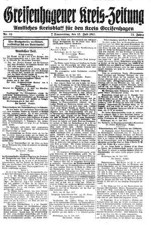 Greifenhagener Kreiszeitung vom 12.07.1917