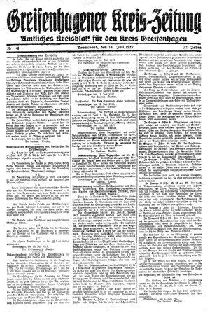 Greifenhagener Kreiszeitung vom 14.07.1917