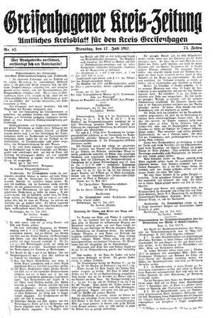 Greifenhagener Kreiszeitung vom 17.07.1917