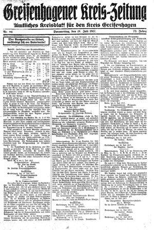 Greifenhagener Kreiszeitung vom 19.07.1917