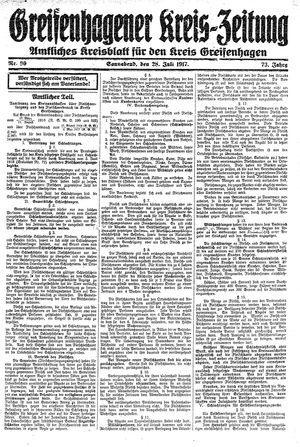 Greifenhagener Kreiszeitung vom 28.07.1917