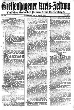 Greifenhagener Kreiszeitung vom 11.08.1917