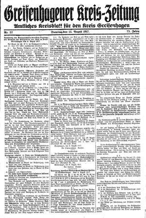Greifenhagener Kreiszeitung vom 14.08.1917