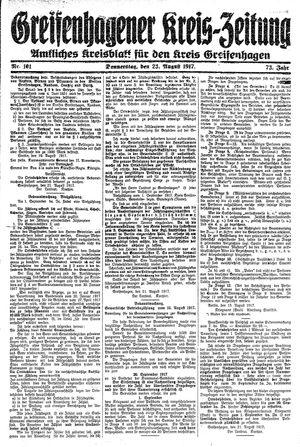 Greifenhagener Kreiszeitung vom 23.08.1917