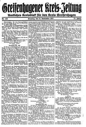 Greifenhagener Kreiszeitung on Sep 11, 1917