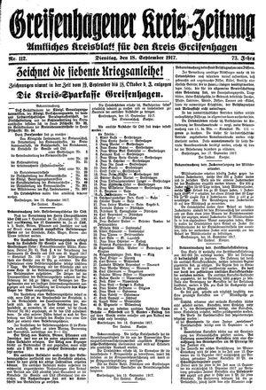 Greifenhagener Kreiszeitung vom 18.09.1917