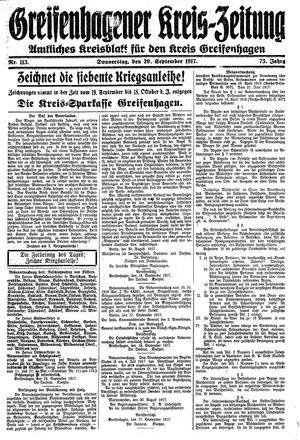 Greifenhagener Kreiszeitung vom 20.09.1917