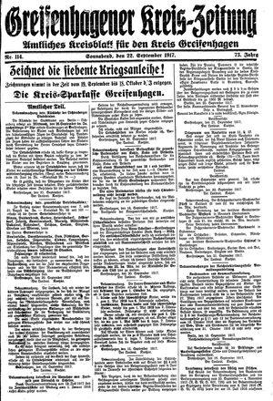 Greifenhagener Kreiszeitung vom 22.09.1917