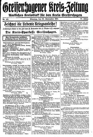 Greifenhagener Kreiszeitung vom 25.09.1917