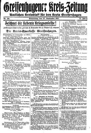 Greifenhagener Kreiszeitung vom 27.09.1917