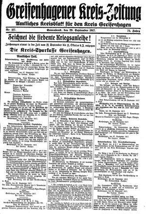 Greifenhagener Kreiszeitung vom 29.09.1917