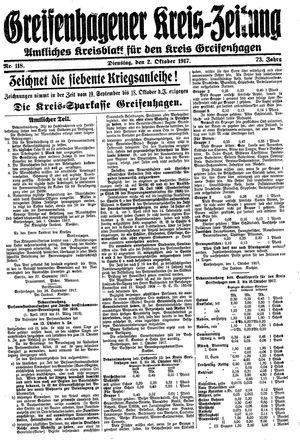 Greifenhagener Kreiszeitung vom 02.10.1917